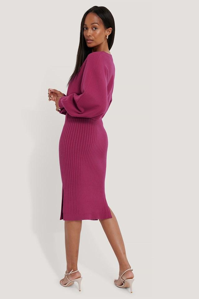 Rib Knitted Skirt Dark Rose