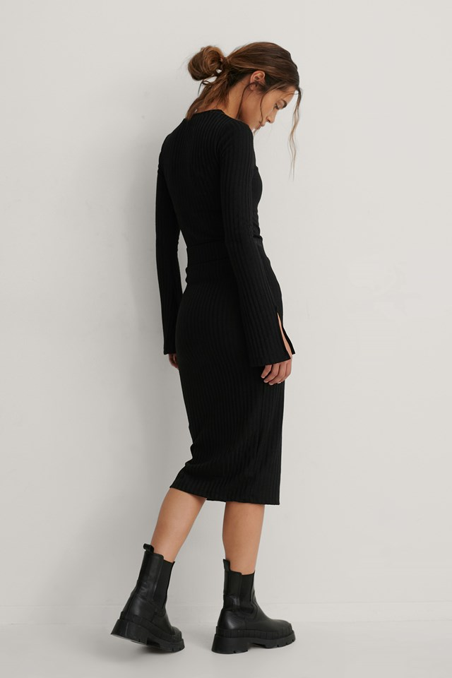 Rib Mid Skirt Black