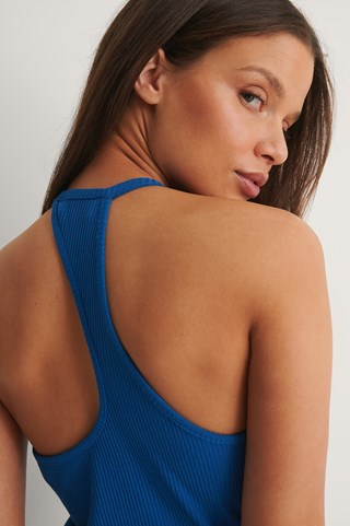 Blue Rib Shape Back Top