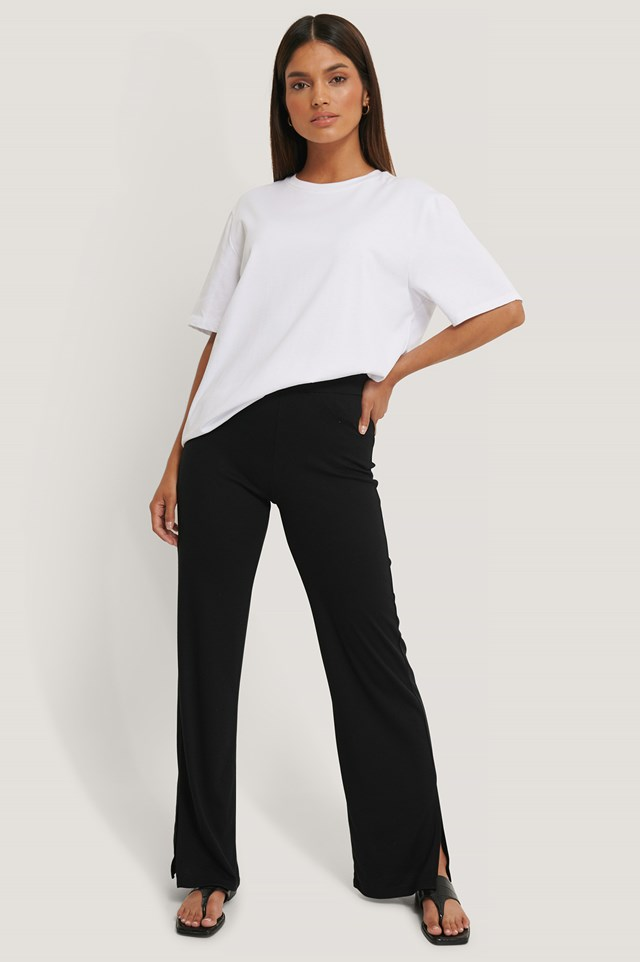 Black Rib Slit Pants