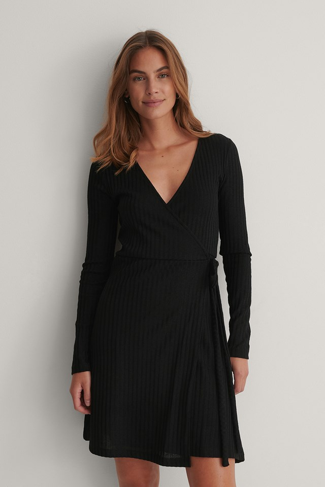 Rib Wrap Dress Black