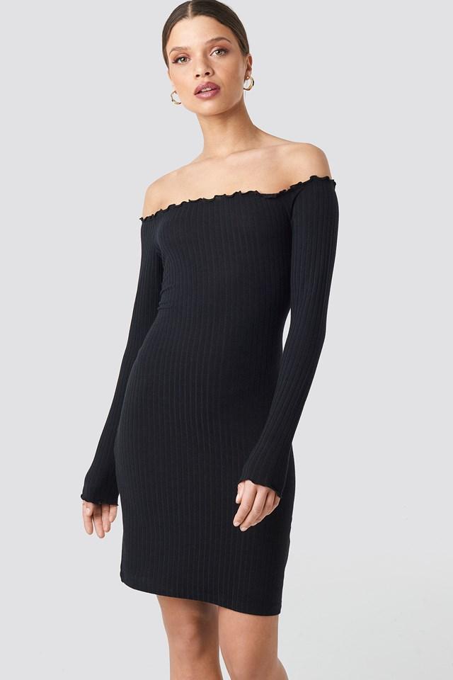Ribbed Babylock Off Shoulder Dress Black
