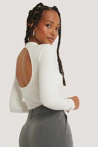 Offwhite Ribbed Back Detail Top