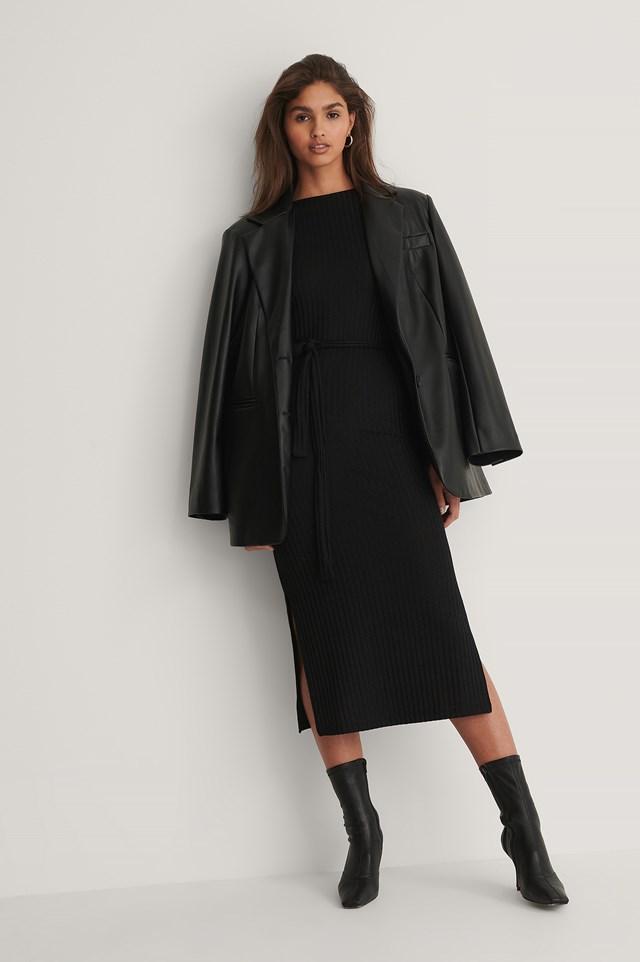 Ribbed Belt Dress Black