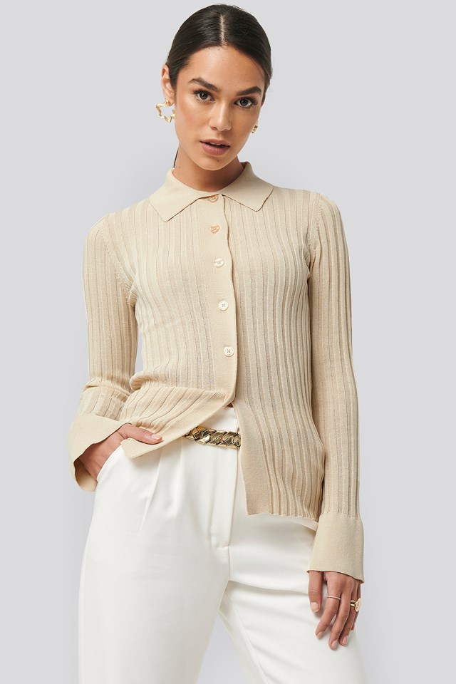 Ribbed Buttoned Knitted Sweater NA-KD Trend