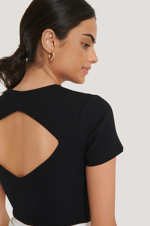 Ribbed Cut Out Top Black