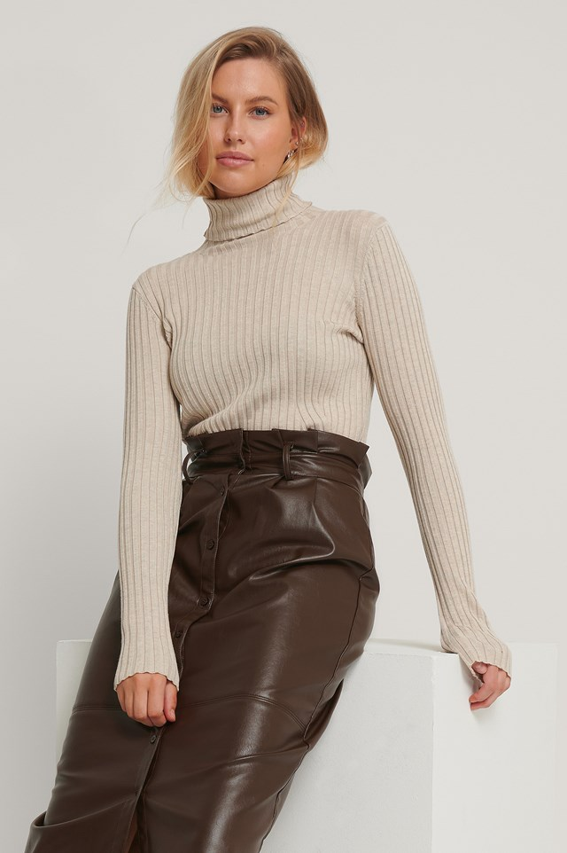 Beige Ribbed Detail Knitted Polo Sweater