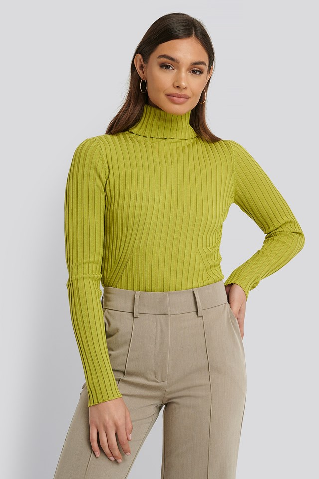 Ribbed Detail Knitted Polo Sweater Green