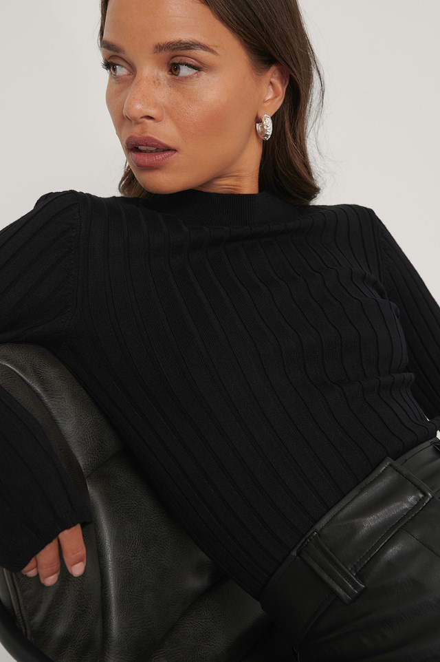 Ribbed High Neck Knitted Sweater Black