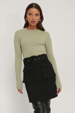 Light Khaki Ribbed High Neck Knitted Sweater