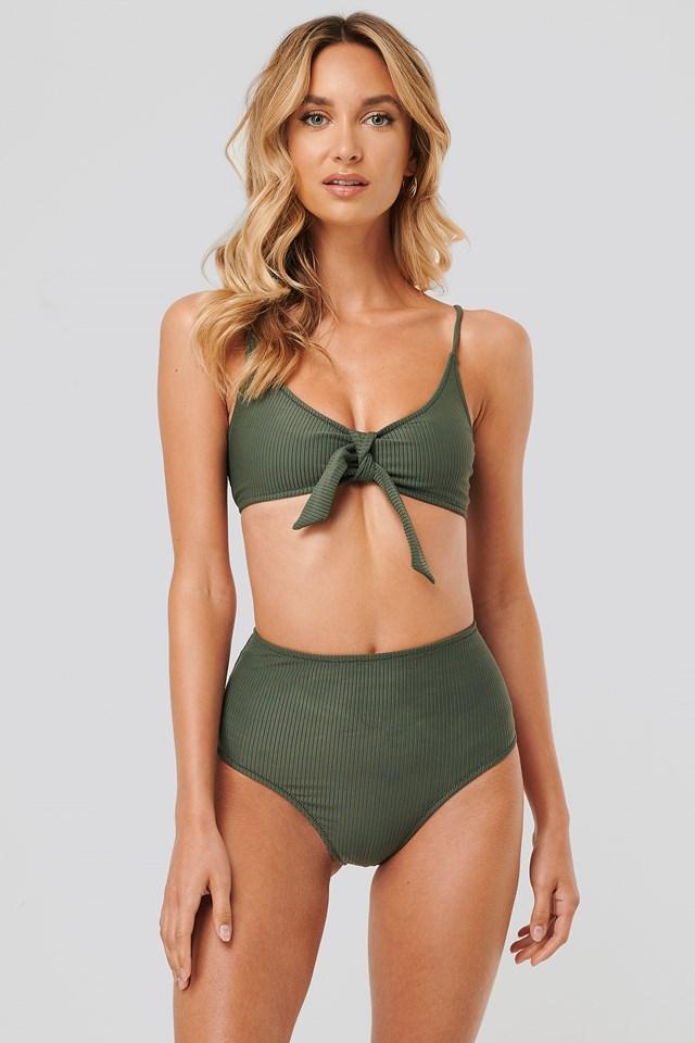 Ribbed Highwaist Bikini Bottom Green