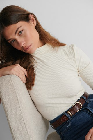 White Ribbed Jersey Top