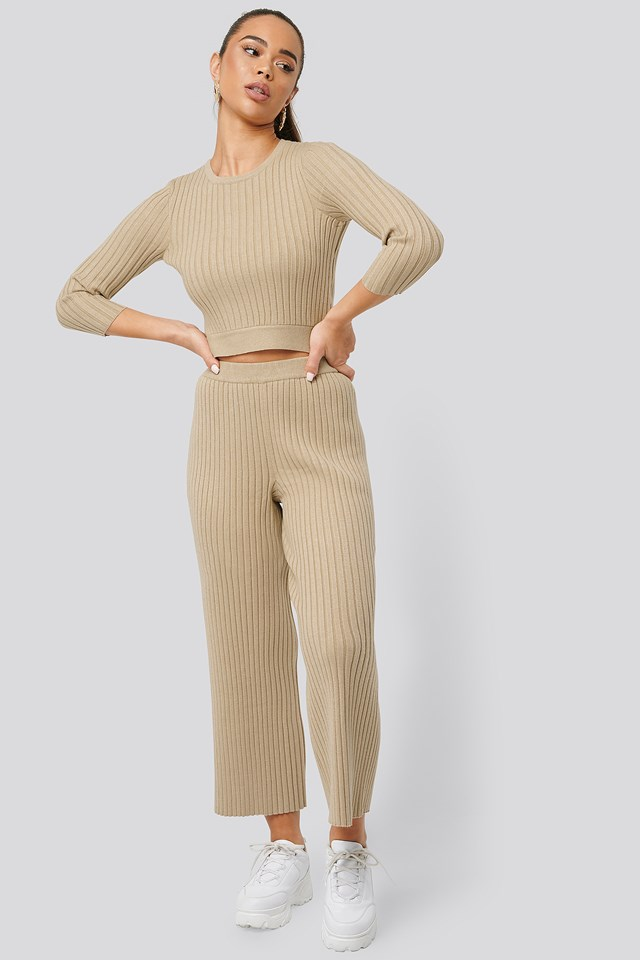 Ribbed Knitted Culottes Beige