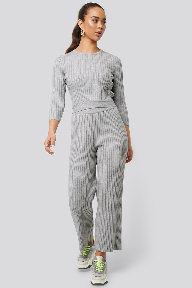 Ribbed Knitted Culottes Grey Melange