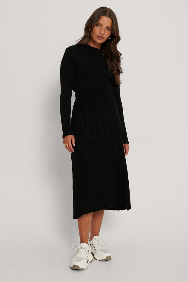 Ribbed Knitted Flared Skirt Black