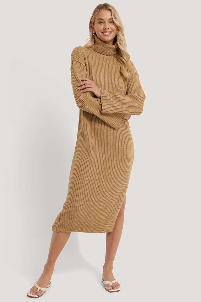 Ribbed Knitted Midi Dress Beige