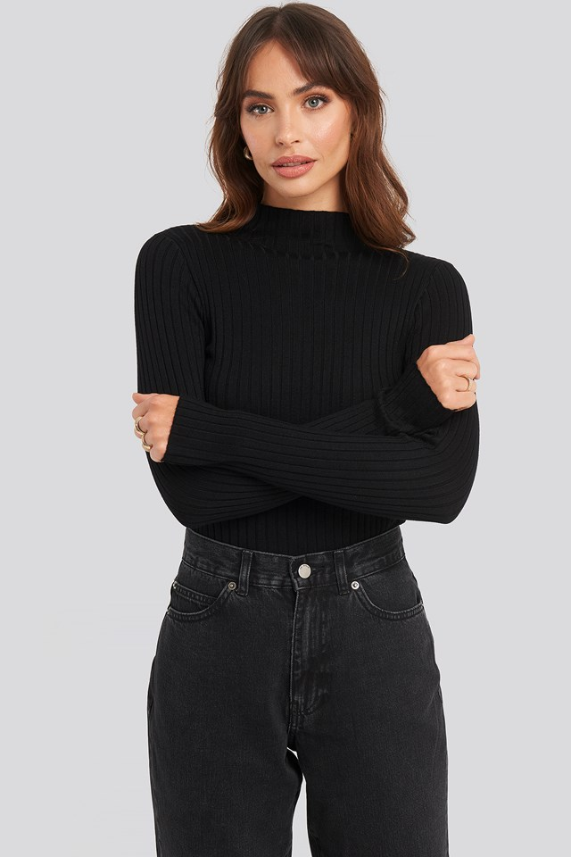 Ribbed Knitted Polo Sweater NA-KD