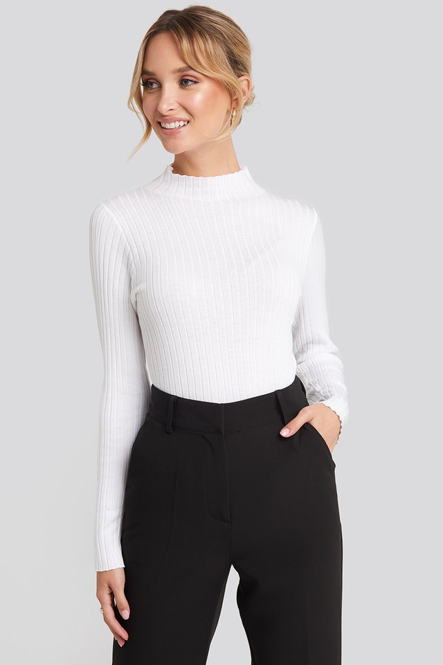Ribbed Knitted Polo Sweater Offwhite
