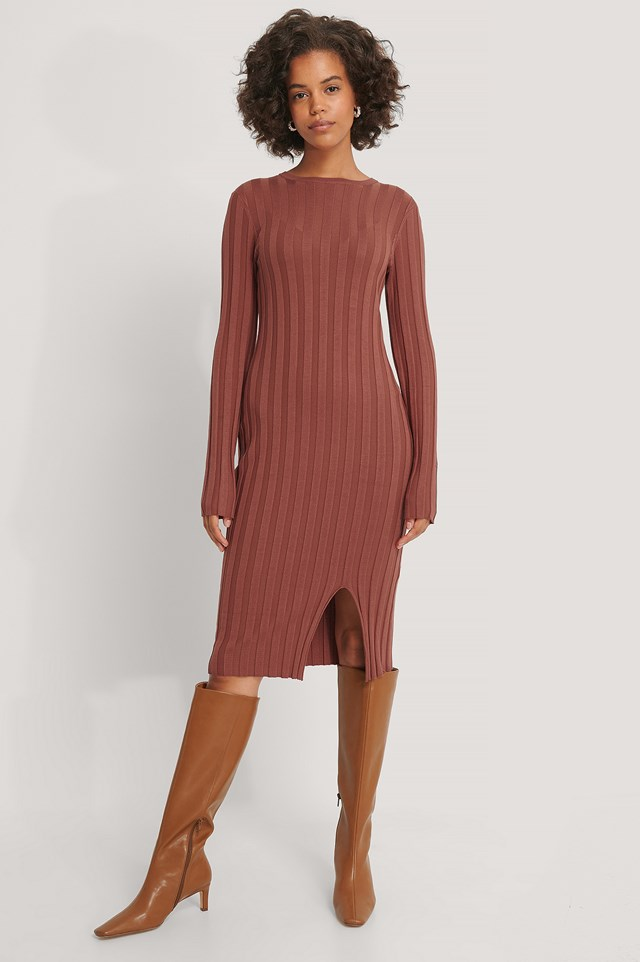 Ribbed Knitted Slit Dress Rust