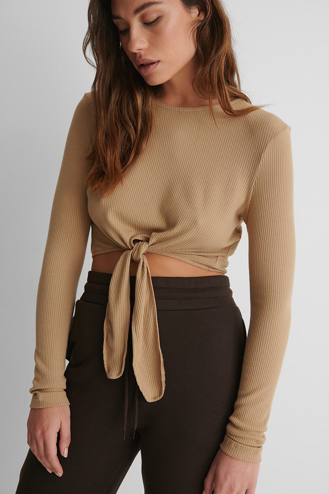 Beige Ribbed Knot Detail Top