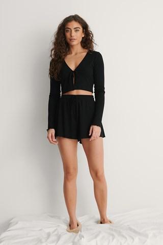 Black Ribbed Loungewear Shorts