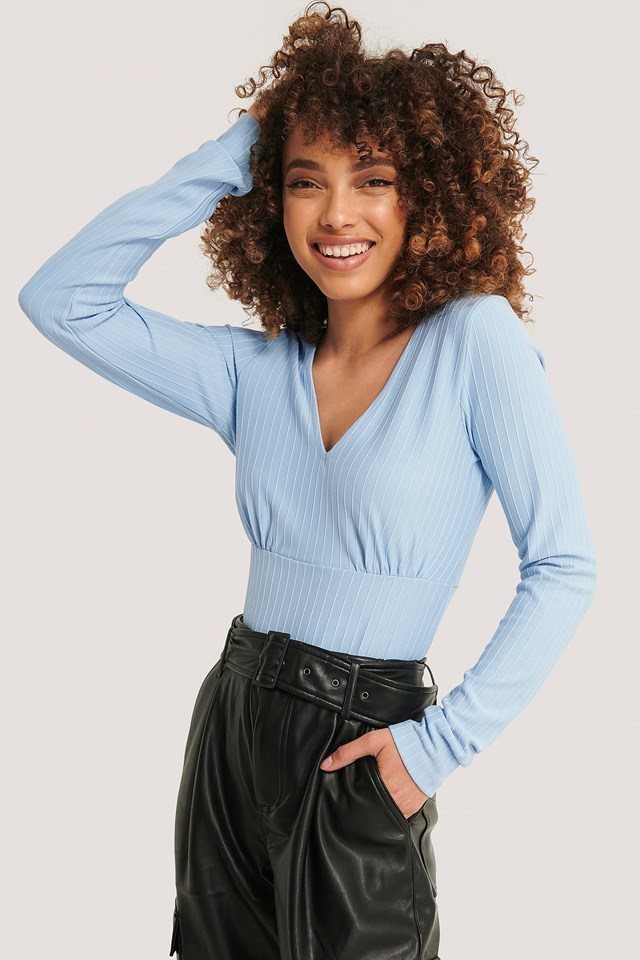 Ribbed Marked Waist Top Blue