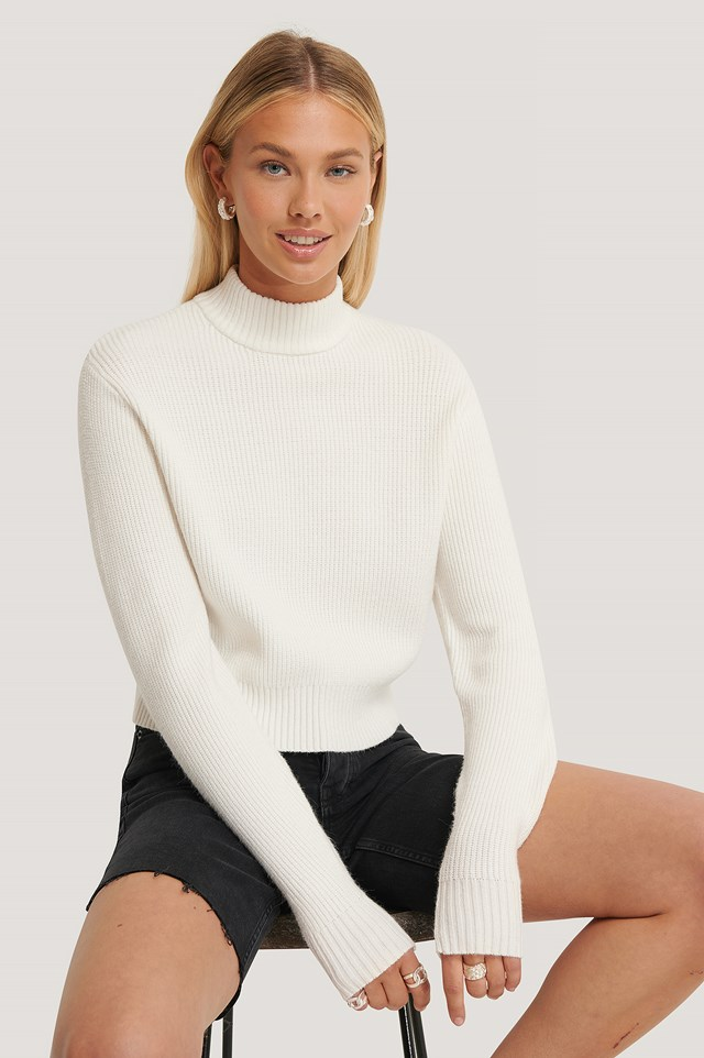 Ribbed Neck Knitted Sweater Offwhite