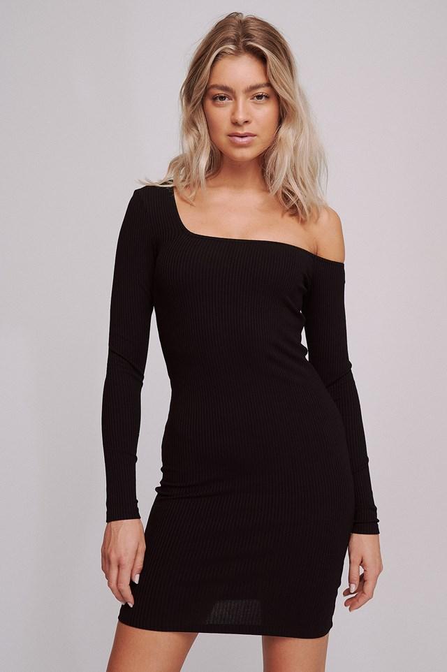 Ribbed One Shoulder Dress Black
