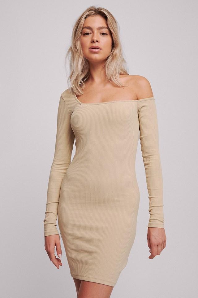Ribbed One Shoulder Dress Beige