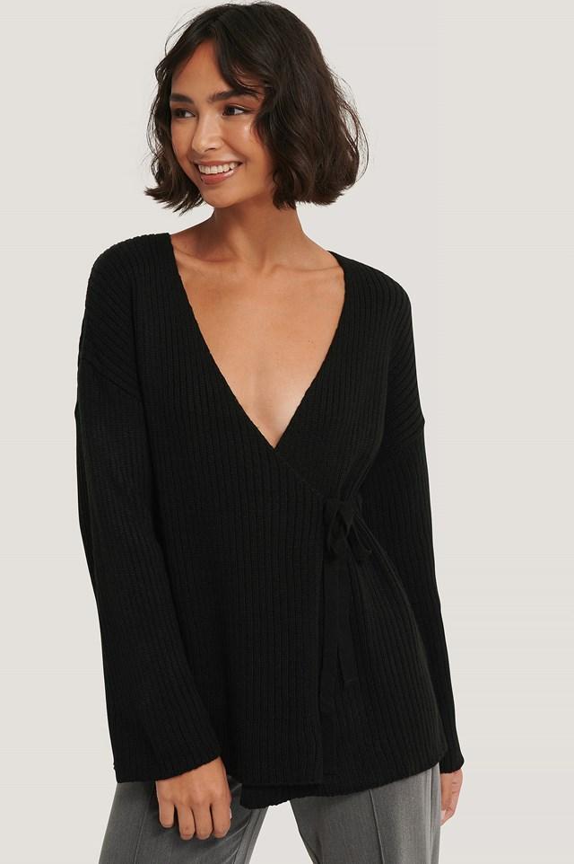 Ribbed Overlap Tie Sweater Black