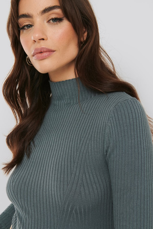 Ribbed Polo Neck Sweater NA-KD Trend