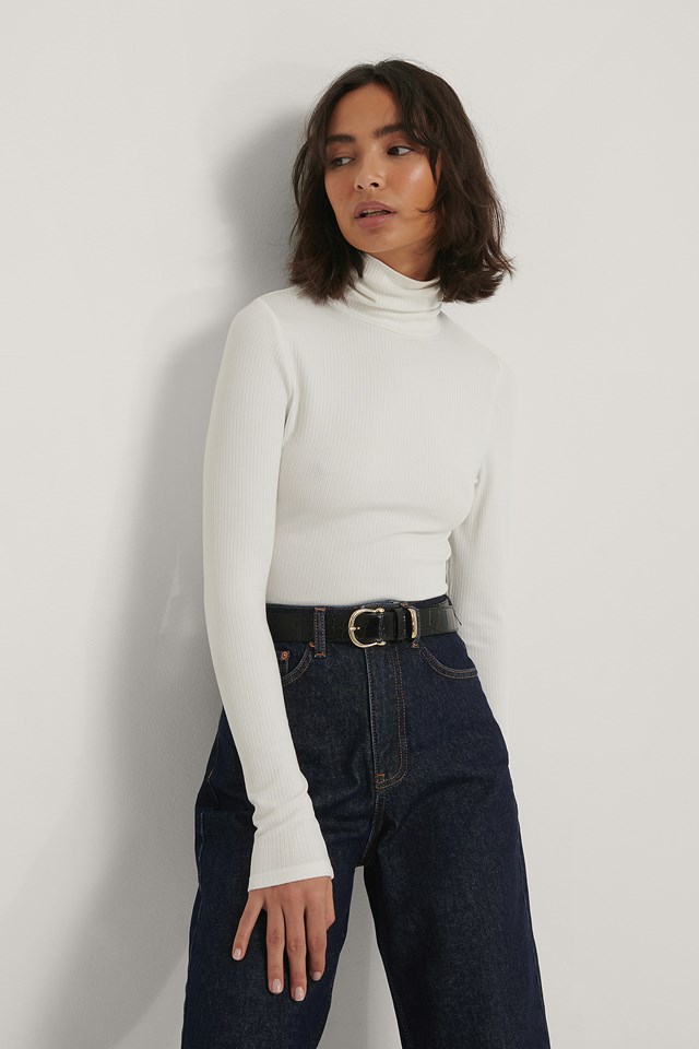 Ribbed Polo Top Offwhite