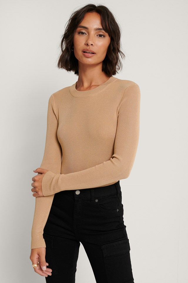 Ribbed Round Neck Knitted Sweater Beige