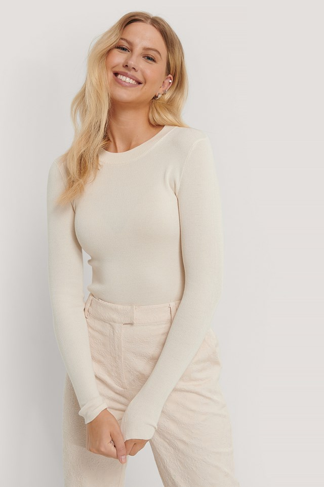 Ribbed Round Neck Knitted Sweater Offwhite