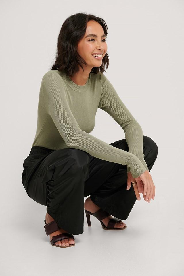 Ribbed Round Neck Knitted Sweater Light Khaki