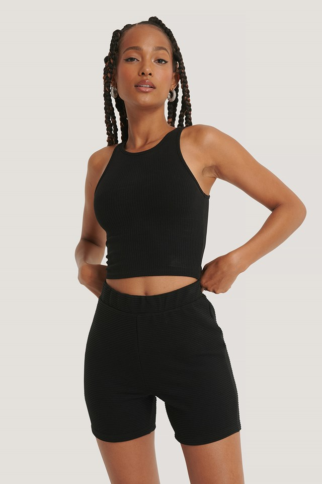 Ribbed Shorts Black