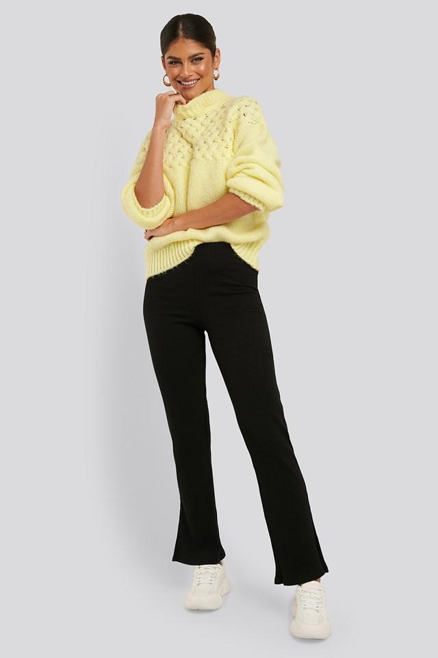 Ribbed Slit Jersey Pants Black