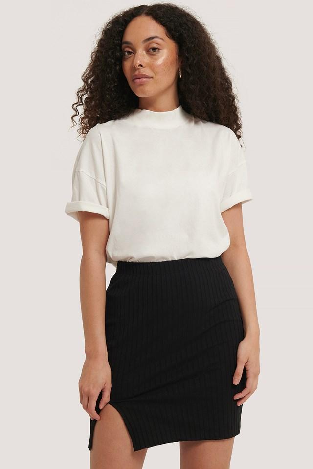 Ribbed Slit Mini Skirt Black