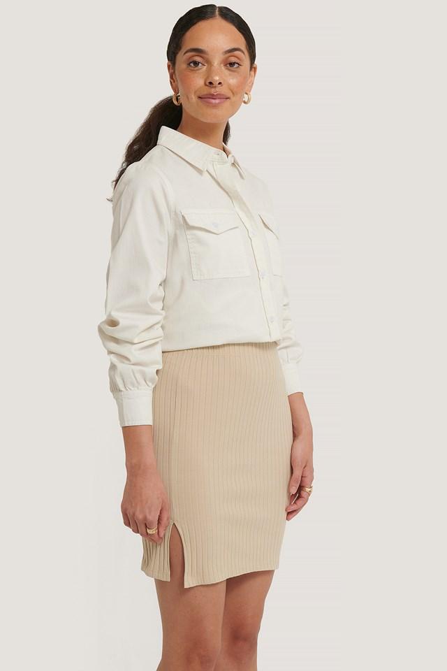 Ribbed Slit Mini Skirt Beige