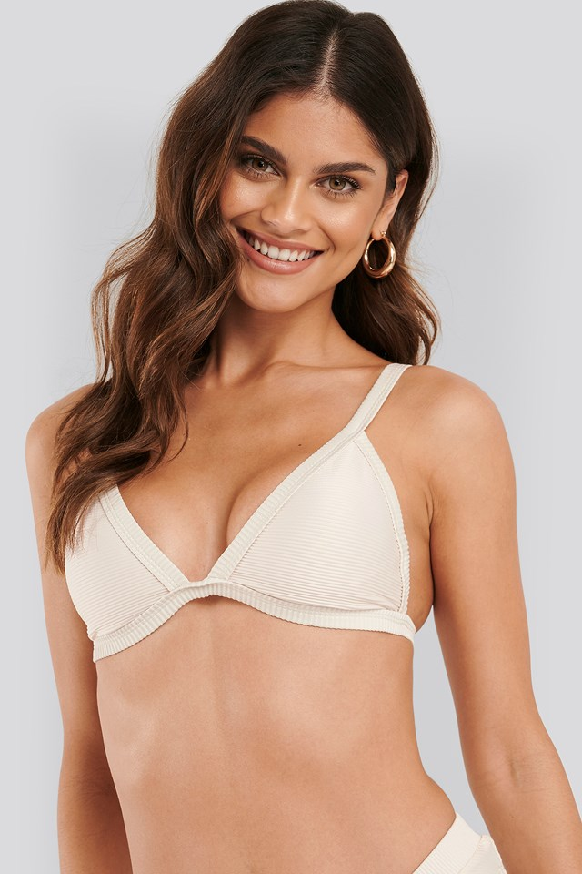 Ribbed Triangle Bikini Bra Offwhite