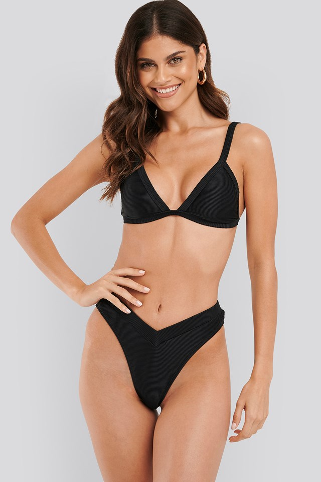 Ribbed V shape Bikini Bottom Black