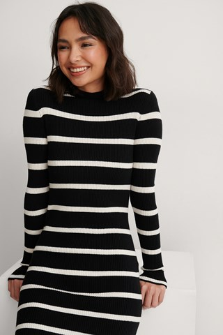 White/Black Ribbed Striped Knitted Dress