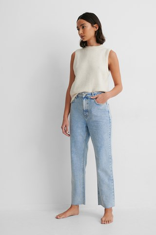 Light Blue Organic Rigid High Waist Straight Cropped Jeans