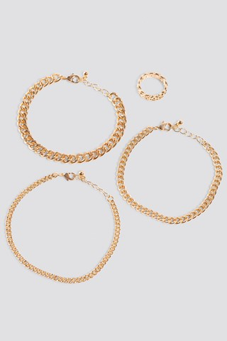 Gold Ring And Bracelets Chain Set