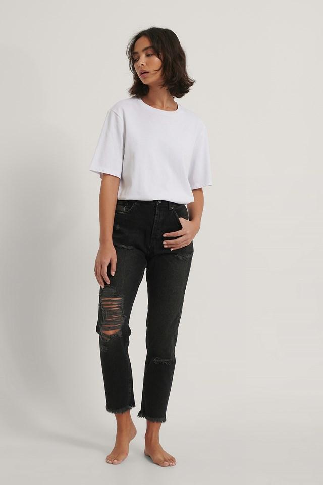 Organic Ripped Detail Mom Jeans Black