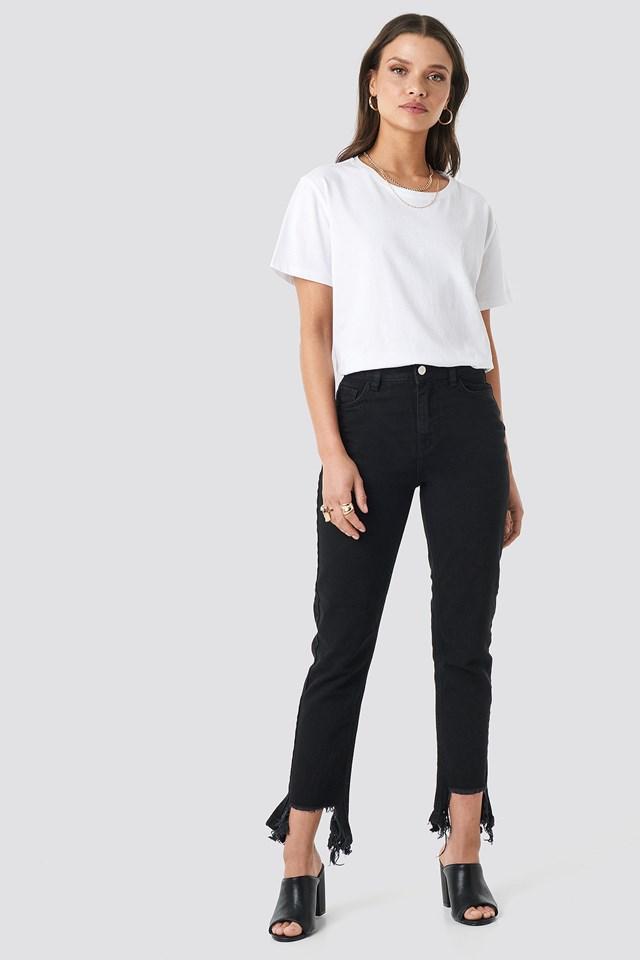 Ripped Hem Jeans Black