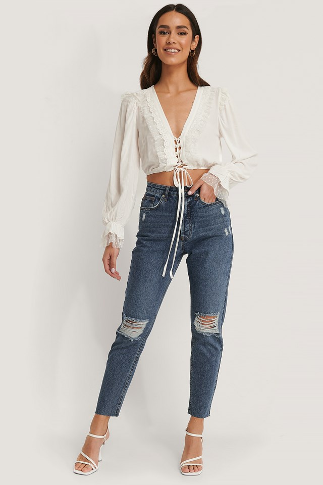 Ripped Knee High Waist Jeans Mid Blue