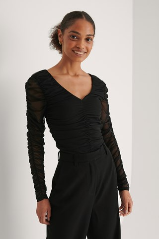 Black Rouched Long Sleeve Mesh Top
