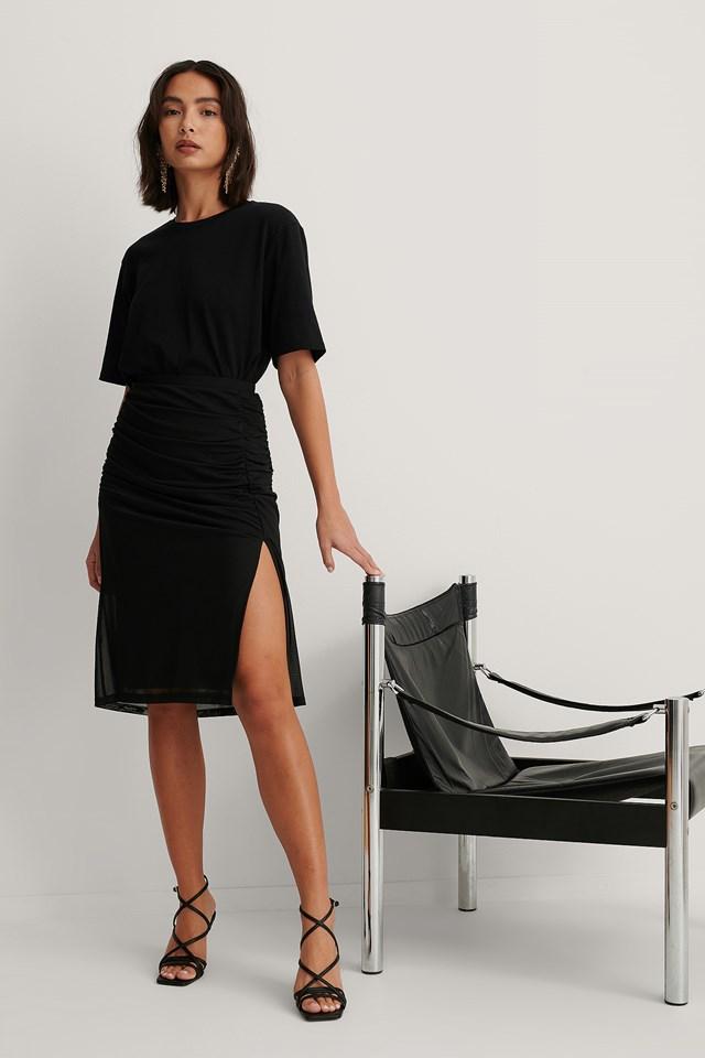 Rouched Mesh Midi Skirt Black