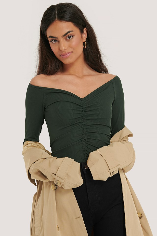 Rouched Long Sleeve Top Green